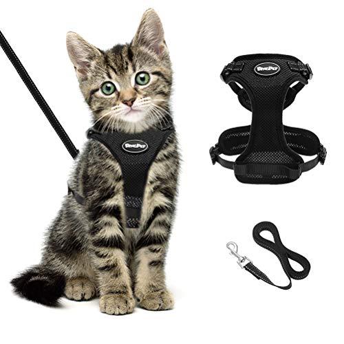 BINGPET Katzengeschirr und -Leine Set Schwarzes, fluchtsicheres Katzengeschirr, verstellbare, weiche, reflektierende Kaetzchenweste, No-Pull-Design Fuer das Gehen und Laufen mit kleinen Haustieren