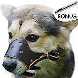 Einstellbare Leder Hund Maulkorb, Lightweight Durable, für Anti-bite Anti-bellen Anti-Kauen-Schutz (S, Braun)