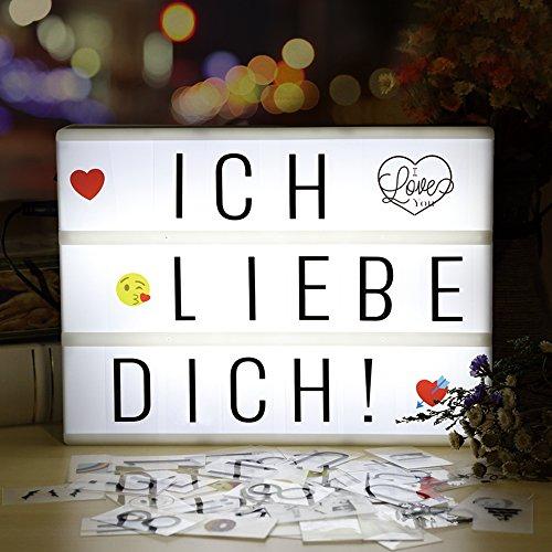 Lightbox, Lichtbox, infinitoo led Leuchtkasten A4 mit 196 buchstaben und 28 weiß Symbole 55 bunten emoji für Innenbeleuchtung Deko, stimmung beleuchtung, Nachtorientierungslicht, Party und Haus Deko
