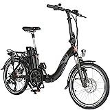 E-Bike Elektro Faltrad AsVIVA B13 mit 36V 15,6Ah Samsung Akku in schwarz, extrem kompakt |20' Klapprad mit 7 Gang Shimano Kettenschaltung, Scheibenbremsen LED Beleuchtung | Elektrofahrrad