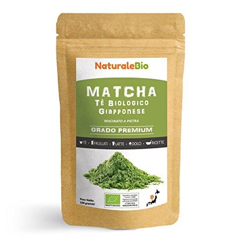 Matcha Tee Pulver Bio [ Premium-Qualität ] 100 GR | Original Green Tea aus Japan | Japanischer Matcha Ideal zum Trinken | Grüntee-Pulver für Matcha Latte, Matcha Smoothies, Matcha-Getränk | Tee hergestellt in Japan Uji, Kyoto | NATURALEBIO