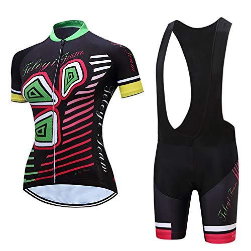 Lgwj Damen Triathlonanzug Kurzarm Trisuit Bekleidung mit wasserdichtem Innenpolster,A-L