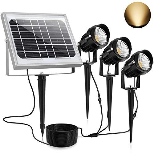 CLY Solarstrahler,Solarleuchten Garten,3Stück Gartenleuchte Solar 450LM LED Strahler Außen,IP66 Wasserdicht LED Solarlampe, 3*1.5W Warmweiß Spotbeleuchtung für Outdoor Rasen Hof Veranda Terrasse Weg