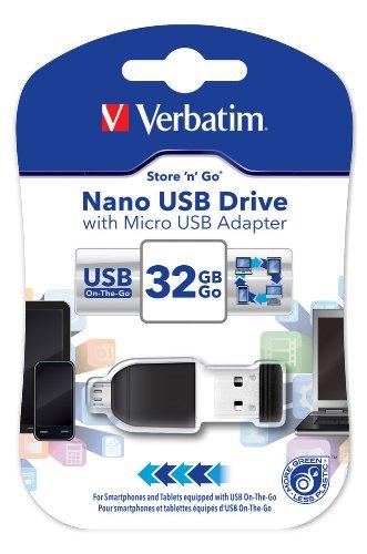 Verbatim 49822 32 GB NANO USB-Laufwerk mit Micro-USB-Adapter