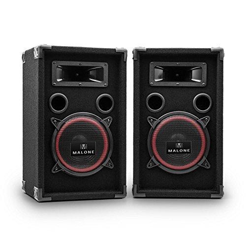 Malone PA-220-P PA Lautsprecher Set • 2-Wege Lautsprecher • Passivboxen • 2 x 500 Watt max. Leistung • 20 cm (8')-Subwoofer • Bassreflexgehäuse • Piezo-Hochtöner • transporttauglich • schwarz