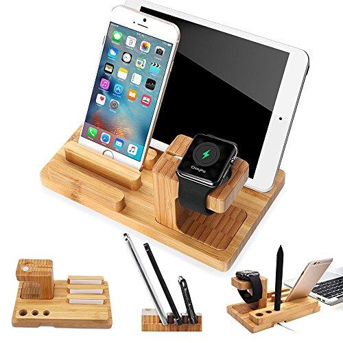 Lobwerk Handy Tablet Holz Organizer Multi Ständer Universal Ladestation für Smartphone, iPhone, iPad, E-Reader und mehr Birke