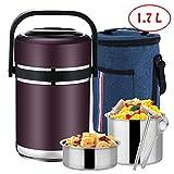 CYANNAN Auslaufsicherer Edelstahl Isolierbehälter Essenbehälter Foodbehälter Für Essen Und Flüssigkeiten, Isoliertes Lunchbox Fass Thermobehälter Warmhaltebox,Purple