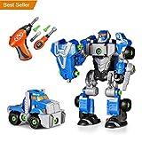 SainSmart Jr. Happkid Montage Spielzeug Transformation Roboter für Kinder 3-in-1 Take Aparts Bauspielzeug BAU Roboter Konstruktionsspielzeug mit Bohrmaschine (42 Teile)