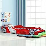 Festnight Kinderbett Autobett Rennwagen ohne Matratze mit LED 90 x 200 cm Rot