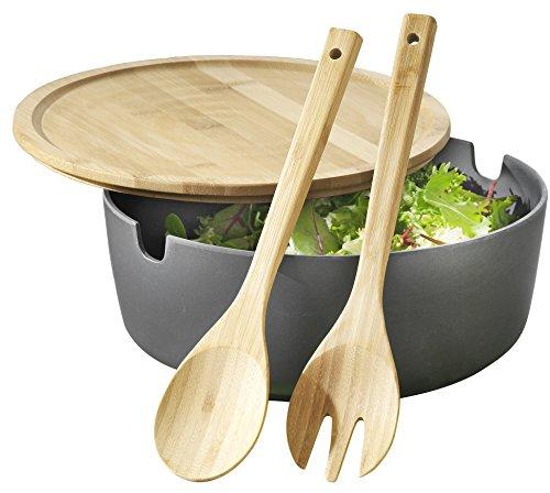 Esmeyer 303-050 Servier-Salatschüssel Brooklyn mit Deckel und Salatbesteck, Bambus Kunststoff gemisch, anthrazit, 27 x 27 x 5 cm