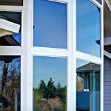 Rabbitgoo Spiegelfolie für Fenster selbstklebende Sonnenschutzfolie Sichtschutzfolie Fensterfolie Tönungsfolie Wärmeisolierung 99% UV-Schutz Silber 44.5 x 200 CM