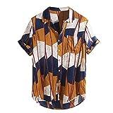BURFLY Herren Sommer Kurzarm Casual Business Shirt Herren Colorblock Baumwolle Knopf Top