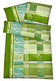 Bügelfreie Seersucker Bettwäsche 135 x 200 cm - Leichte Baumwoll Bettbezüge mit schönem Muster für den Sommer - Modern gemusterte Bettwaren-Garnitur - Grün