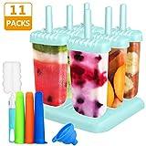 Gifort Eisform BPA Frei, 6-er Set Eisformen aus Silikon + 3-er Set Eislutscher Popsicle Formen + 1 Stück Silikon Trichter + 1 Pinsel, EIS selbst herstellen.