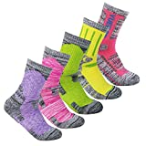 YUEDGE 5 Paar Damen Socken Wicking Gepolstert Baumwoll Multi Performance für Sport Wandern Trekking Running (Pink/Rot/Grün/Gelb/Lila)