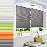 Vkele plisseerollo ohne Bohren, plissee klemmfix, 60x100 cm Weiß Lichtdurchlässig oder Blickdicht, für Fenster & Tür, Wohnzimmer, Büro, Küche.