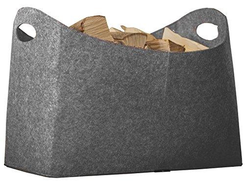 Rubberneck Kaminholztasche XL aus Filz für Holz, Zeitungen, Kaminholz - Filztasche Maße 54 x 30 x 39 cm (Grau)