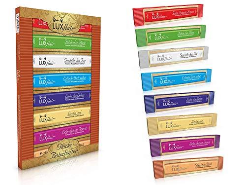 Luxflair Natürliche Räucherstäbchen mit ätherischen Ölen, 8 Duftrichtungen mit Glücks-Botschaften im Exklusiven Gold-Set. Echte Premium Masala Agarbatti