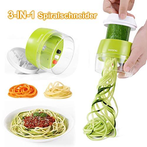 ADORICSpiralschneiderHand[3in1] GemüseSpiralschneider,GemüsehobelfürKarotte,Gurke,Kartoffel,Kürbis,Zucchini,Zwiebel,Tastenumschalten.