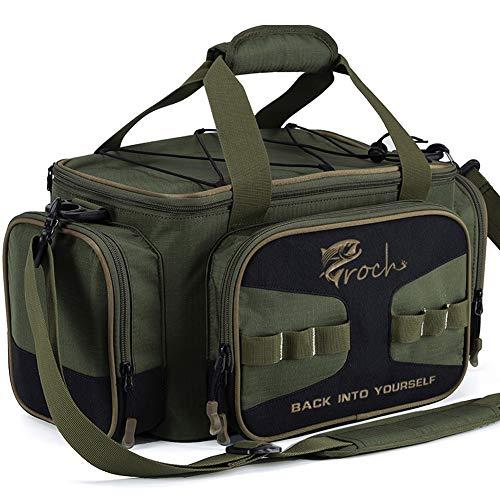 Croch Angeltasche mit Angelkoffer inkl. 8 Tackle Boxen für Angelgeräte und Angel Zubehöre mit Gürtel & Schultergurt Armee-Grün