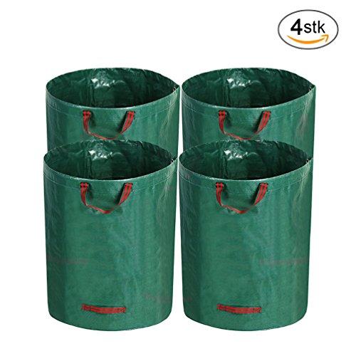 AllRight Gartensack 4 x 272 Liter Gartenabfallsäcke Laubsäcke Polypropylen-Gewebe (PP) Selbststehende und faltbare Laubsäcke (4*272 Liter)