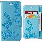 Hülle Huawei P20 Lite Handyhüllen, Ougger Tasche Leder Schutzhülle Schale Weich TPU Silikon Magnetisch-Stehen Flip Cover Tasche Huawei P20 Lite mit Kartensteckplätzen, Schmetterling Streifen (Blau)