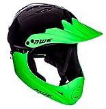 AWE gratis 5Jahr Crash Ersatz * BMX Full Face Helm schwarz grün groß 58–62cm