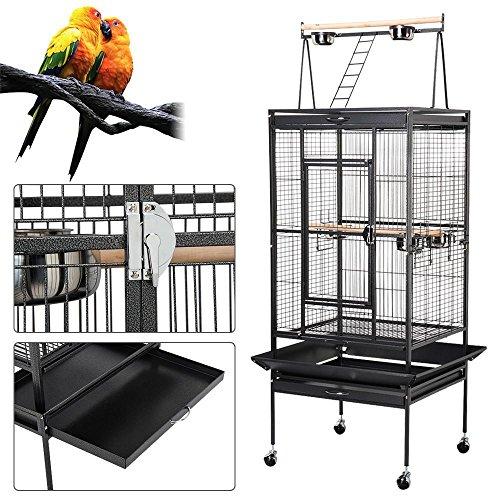 Yahee Vogelvoliere Vogelkäfig Vogelbauer mit 4 Rollen,5 Schüssel und 2 Holzsitzstangen, 80 x 76 x 172 cm