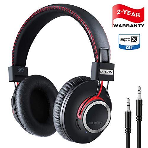 Bluetooth HiFi Kopfhörer kabellosen Over Ear mit leichtem Ohrpolster & Dual 40mm Treiber, 30 Stunden Spielzeit, Perfekt Bass, 3,5 mm AUX, On-Ear Steuerung