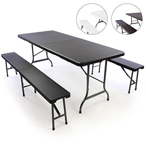Gartengarnitur 1 Partytisch 2 Bänke klappbar Rattan-Optik Bierzeltgarnitur schwarz Set Festzelt Campingset Klapptisch robust wetterfest