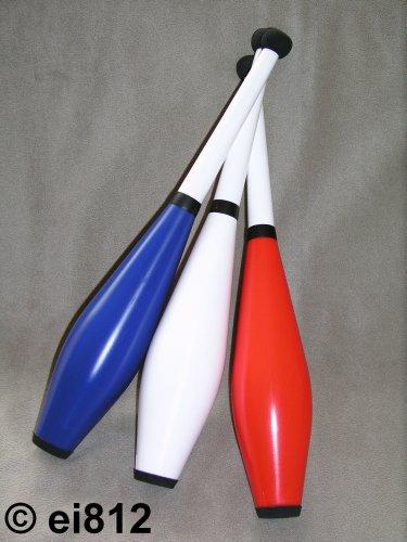 Jonglierkeulen: HENRYS Delphin Long Training, 3er-Set, blau/weiß/rot
