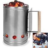 Kohlestarter Grillstarter XXL Stahl Anzündkamin mit Griff und Hitzeschild 17 x 17 x 27,5 cm  stabiler Griff mit Hitzeschild  mehrere Belüftungsöffnungen  Shisha Kohle