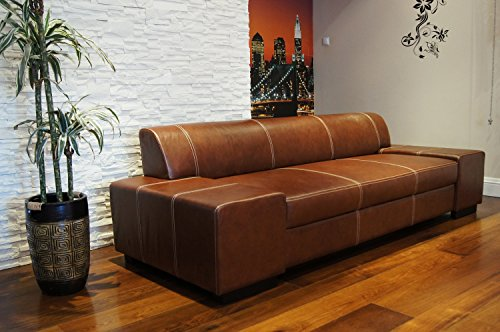 Super Lange Echtleder 3 Sitzer Sofa 'London' Breite 238cm Ledersofa Echt Leder Couch große Farbauswahl !!!