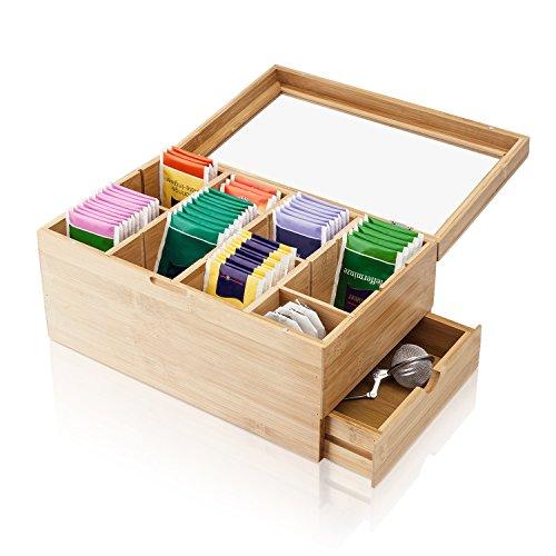 Amazy Teebox aus Bambus – Dekorative Teedose aus Holz mit 8 Trennfächern und Schublade für die Aufbewahrung von Tee (-beuteln) und anderem Zubehör