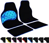 WOLTU Universal Auto Fußmatten Set Teppich & PVC Rutschfest Schwarz/Blau AM7147