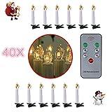 40 Christbaumkerzen LED Weihnachtsbaum Lichterkette mit 40 LED-Kerzen warmweiß kabellose LED Mini Christbaumkerzen