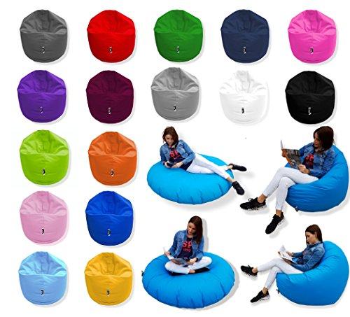 Patchhome 2 in 1 Funktion Sitzsack Sitzkissen Bean Bag - Rot - 100cm Durchmesser in 25 Farben und 3 Versch. Größen - fertig befüllt