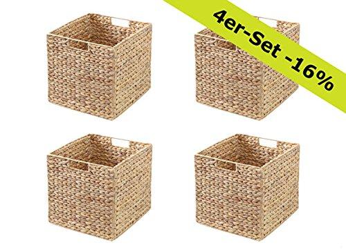 Ikea Kallax Expedit Regal Korb 32 x 32 x 34 cm aus Wasserhyazinthe Natur Faltkorb Flechtkorb Regalbox Storage Box Aufbewahrungskorb Schrankkorb klappbar faltbar und sehr stabil 4er-Set Sparpreis