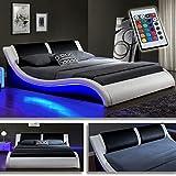 'Kentucky' Weiss/Schwarz Doppelbett Polsterbett LED Bett Lattenrost Kunstleder (140cm x 200cm)