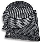 Silikon -Untersetzer: 4er set Topf-Halter und Untersetzer - Ofenhandschuhe,Hitzebeständiges Topflappen-Set für warme Speisen - Küchen-Topflappen, Glasöffner, Löffelhalter, topfuntersetzer - Schwarz