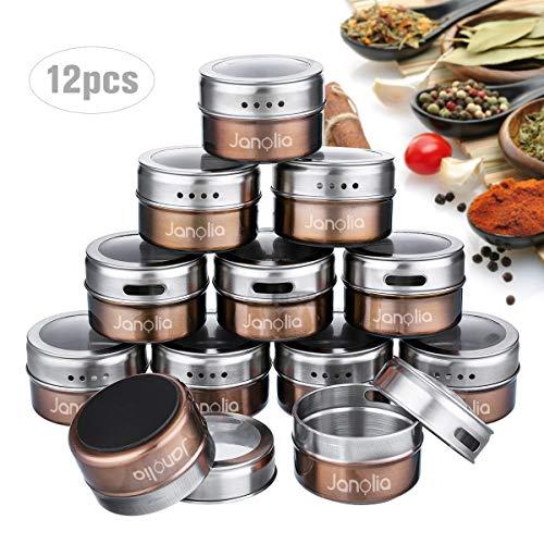 Janolia Magnetische Gewürzdosen, 12 Stück Rund Spice Jars, Transparente Oberseite, Swift Gießen, magnetisch Stick auf Kühlschrank, Braun
