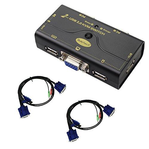 VGA KVM Switch 2 Port Bis zu 2048x1536 Auflösung mit USB-Hub für PC oder Montior Switching per Knopfdruck