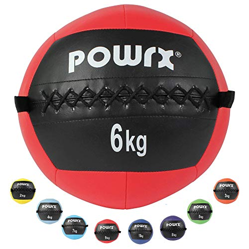 POWRX Wall-Ball Gewichtsball Medizinball Deluxe Professional 2-10 kg | versch. Farben (6 kg/Rot)