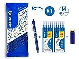 PILOT FriXion Clicker, radierbarer Tintenroller (Blau) + 12 Ersatzminen + FriXion Radierer