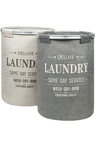 BAMODI Wäschekorb Set spart Zeit beim Sortieren - 2 Wäschesammler je 60 l - Laundry Basket (55 x 40 cm)