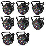 LED Par, Eyourlife LED Partylicht Discolicht Bühnenlicht Par LED 30W Lichteffekt DMX512 RGB Stage Light 18LEDs -EU Stecker (8 Stück)