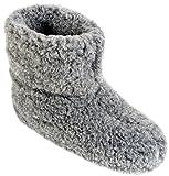 Herren Damen Hausschuhe Reine Wollhausschuhe - Hüttenschuhe Stiefel Warm Winter Wolle Warme Winterhausschuhe Schafswolle Mit Fell Schafwolle (46, Graphit)