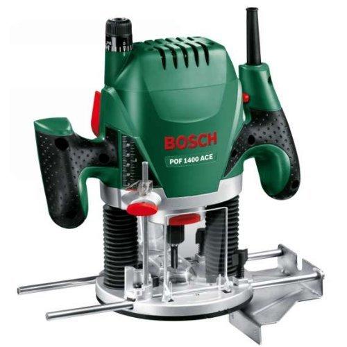 Bosch Oberfräse POF 1400 ACE (3x Spannzange, Fräser, Parallelanschlag, Absaugadapter, Koffer, 1.400 Watt)
