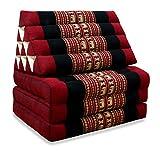 livasia Thaikissen mit 3 Auflagen der Marke Asia Wohnstudio, Kapok Dreieckskissen, asiatisches Sitzkissen, Liegematte, Thaimatte, (Rot/Elefant) (Thaikissen 3 Auflagen)