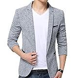 Herren Anzugjacke Casual Freizeit Sakko Business Blazer Slim Fit Grau M